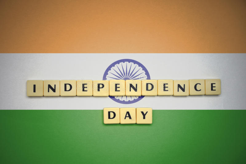 Letters with text independence day on the national flag of india. stock image