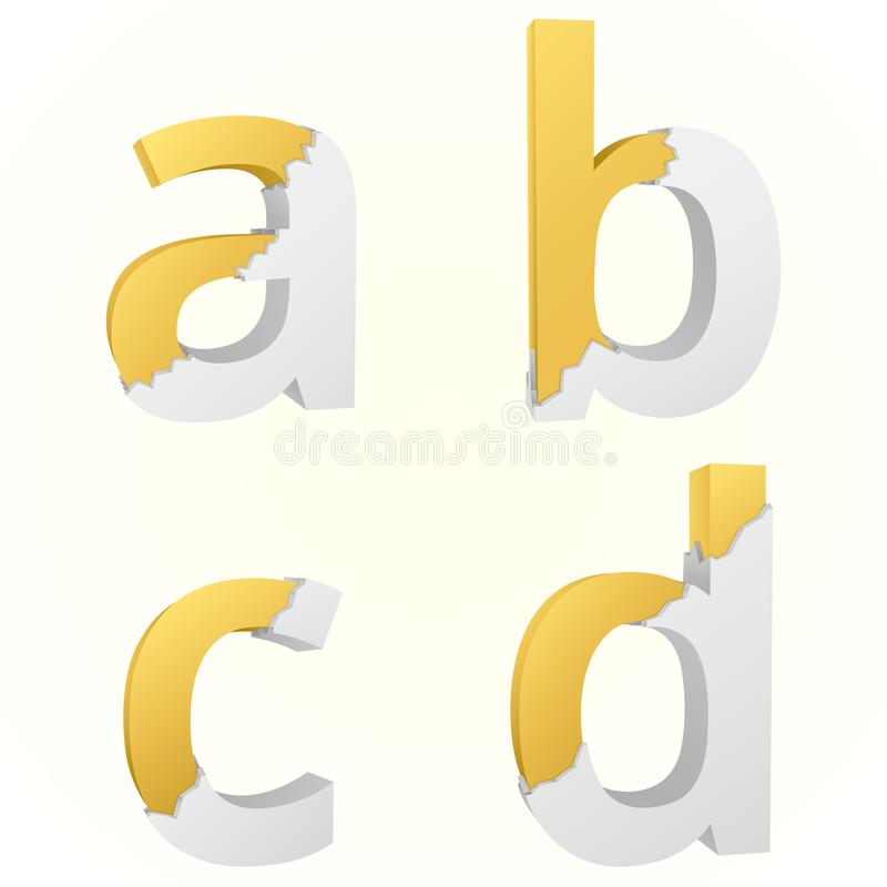 Font broken a to d stock illustration