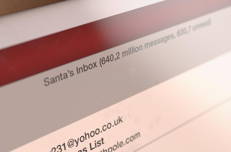 Letters To Santa Email Inbox stock photos