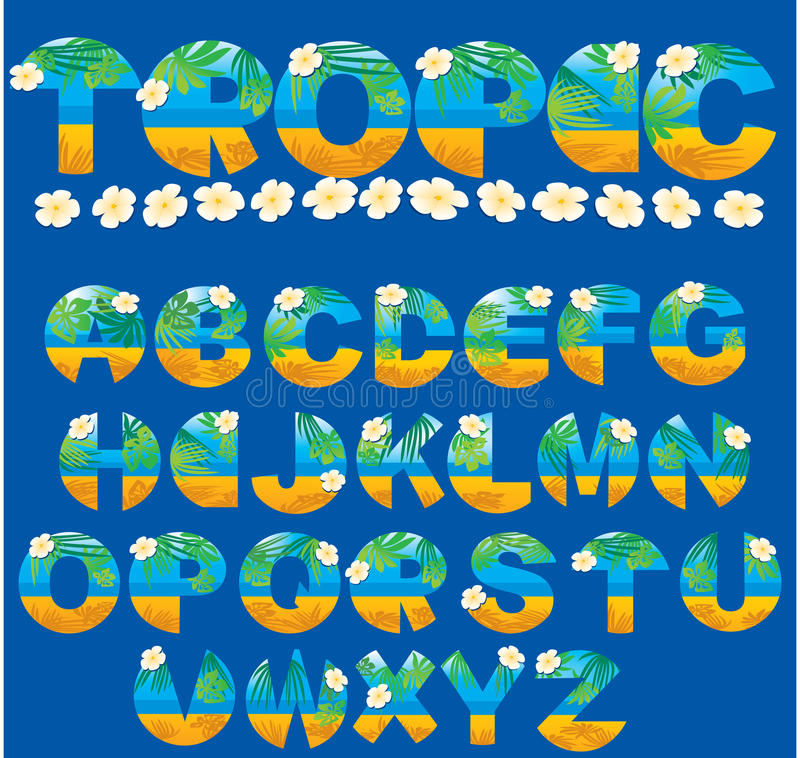 letters tropiskt royaltyfri illustrationer