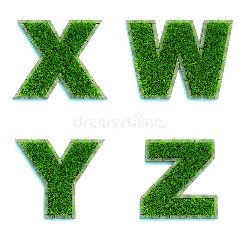 Letters X, W, Y, Z as Lawn - Set of 3d. Letters X, W, Y, Z - Alphabet Set of Green Grass Lawn on White Background in 3d royalty free illustration