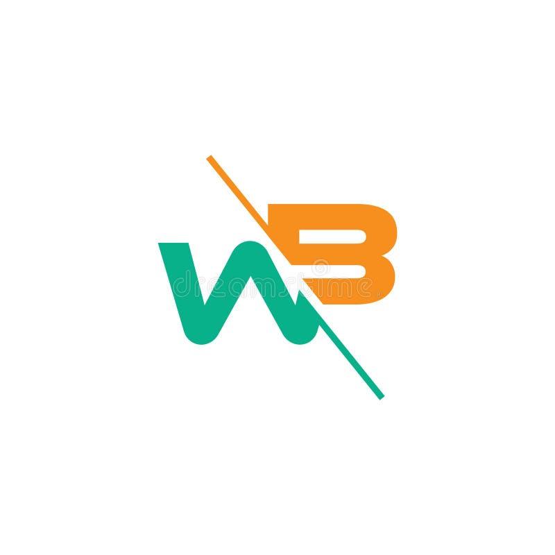 Letters wb slice geometric logo vector. Unique unusual luxury simple design concept royalty free illustration