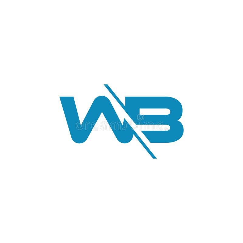Letters wb slice geometric logo vector. Unique unusual simple luxury design concept stock illustration
