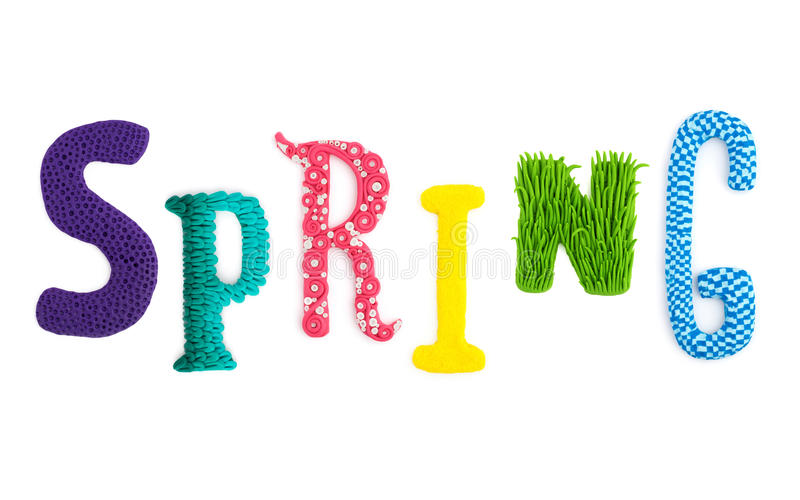 Letters word Spring handicraft. Word letters Spring handmade polymer clay plasticine Isolated postcard vector illustration