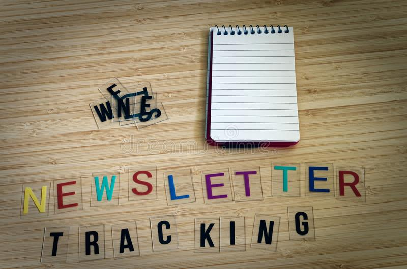 Letters with the words Newsletter Tracking to clarify tracking technologies with newsletters.  royalty free stock images