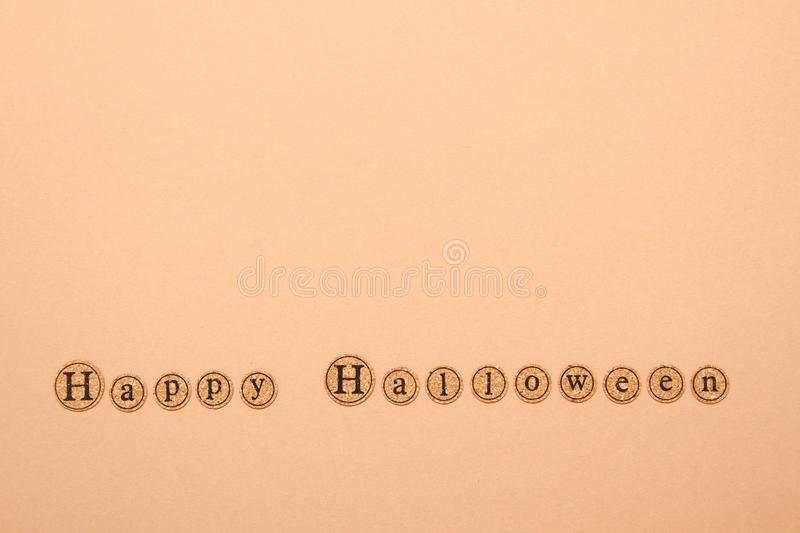 Happy halloween text. Letters written the text of a happy Halloween. Holiday Wallpapers stock photos