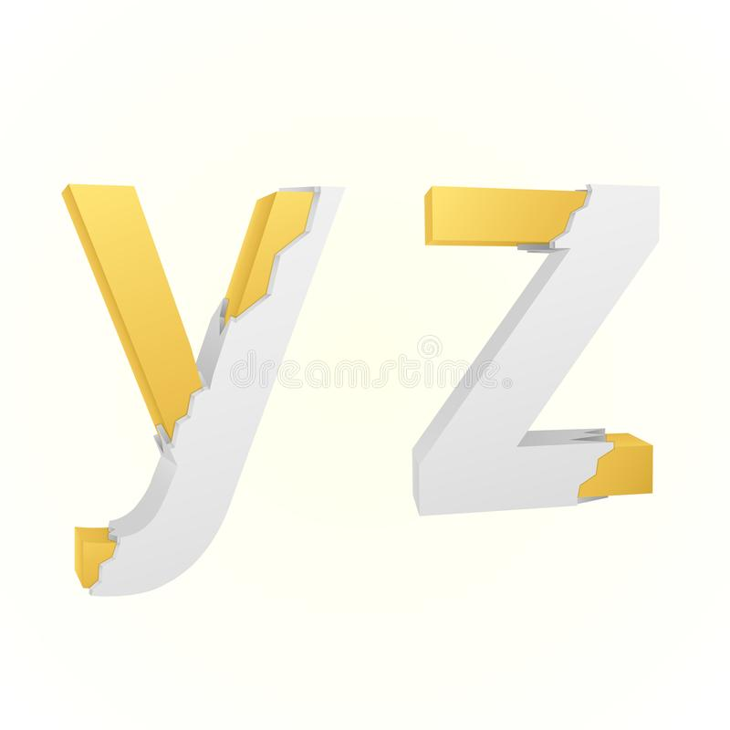 Font broken y and z vector illustration