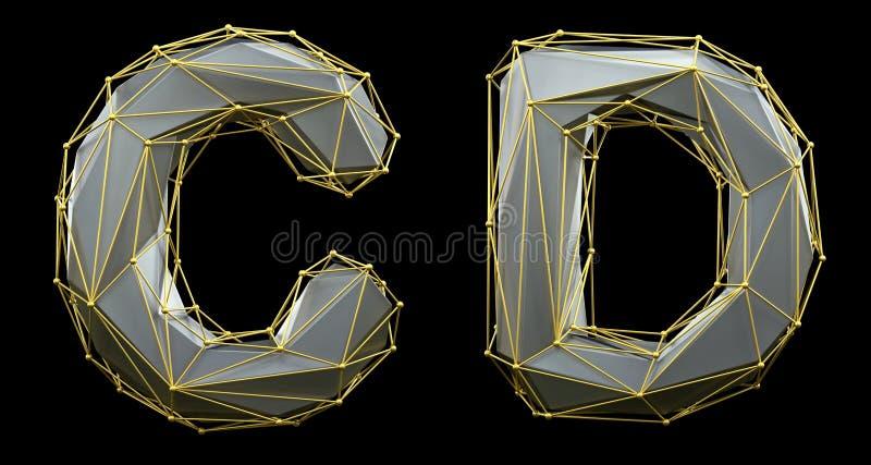 Letterset C, D gemaakt van realistische 3d rendering zilveren kleur Verzameling van gouden laag poly vector illustratie