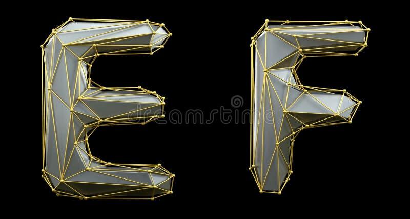 Letterset E, F gemaakt van realistische 3d rendering zilveren kleur Verzameling van gouden laag poly vector illustratie
