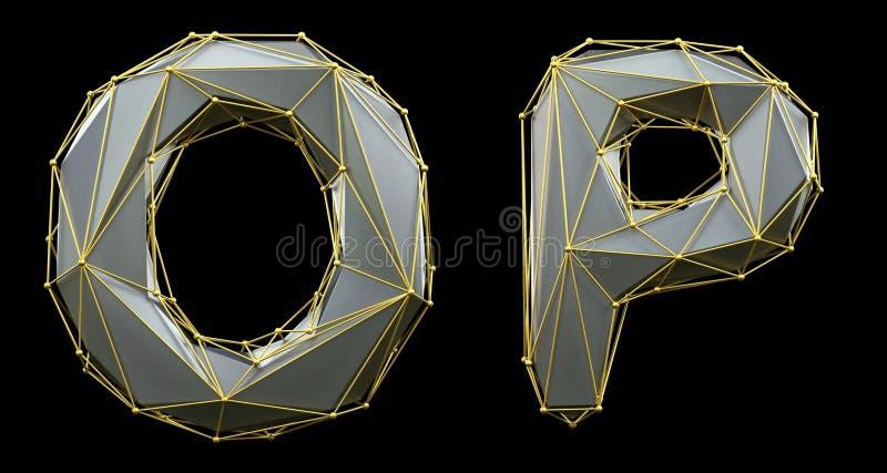 Letterset O, P gemaakt van realistische 3d rendering zilveren kleur Verzameling van gouden laag poly royalty-vrije illustratie