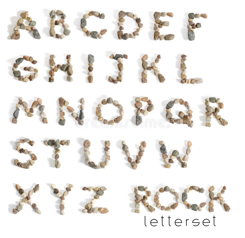 Letterset ROCK. A letterset is a set of letters on white background. It is perfect for short inscriptions on greeting cards, business cards, postcards, titles stock photo