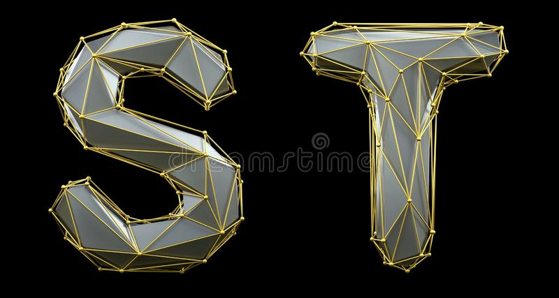 Letterset S, T gemaakt van realistische 3d rendering zilveren kleur Verzameling van gouden laag poly stock illustratie