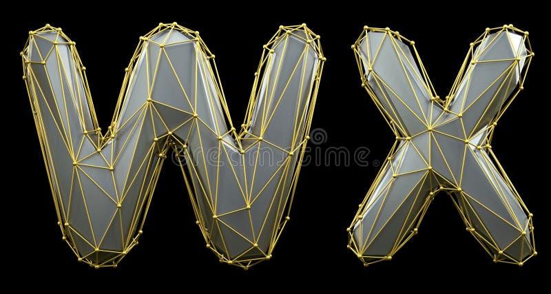 Letterset W, X gemaakt van realistische 3d rendering zilveren kleur Verzameling van gouden laag poly stock illustratie