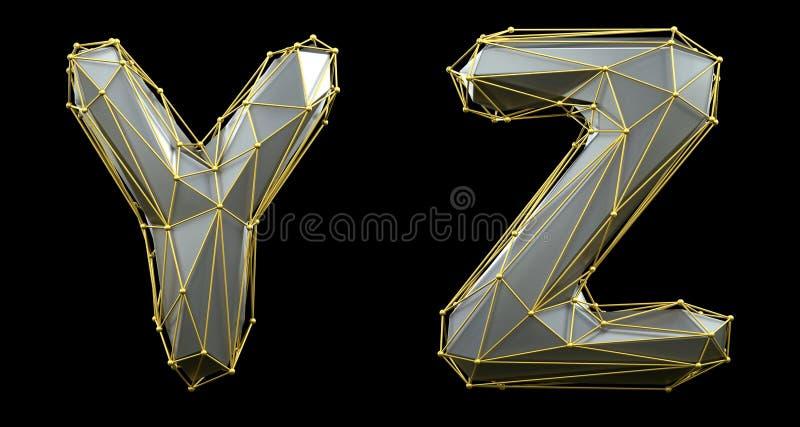 Letterset Y, Z gemaakt van realistische 3d rendering zilveren kleur Verzameling van gouden laag poly vector illustratie