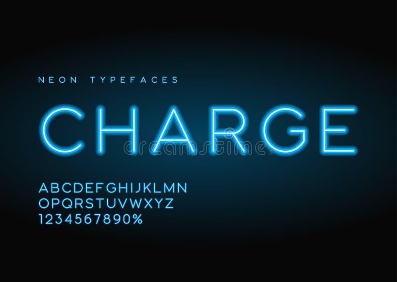 Lettersoorten van het lasten de vector lineaire neon, alfabet, brieven, doopvont, ty royalty-vrije illustratie