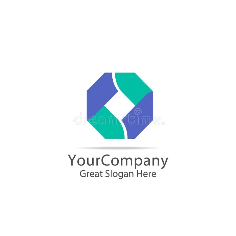 lettertype信件O企业商标 抽象箱子立方体标志商标象模板 数字式,财务、apps和技术稀薄为服务 向量例证
