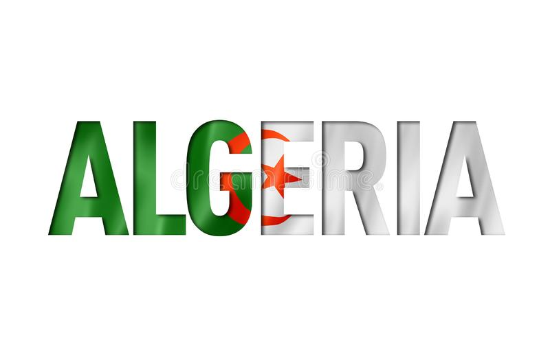 Lettertype Algerijnse vlag stock illustratie