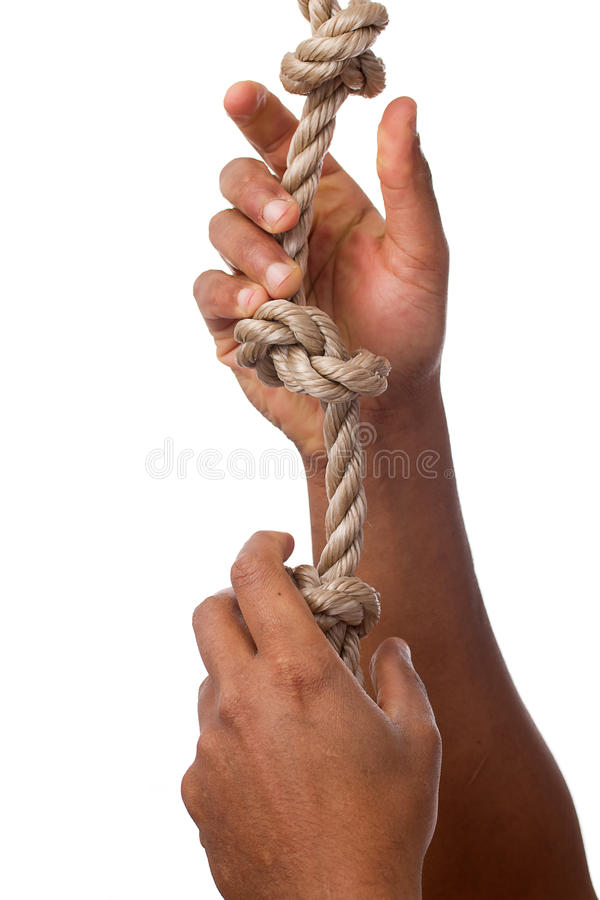 Letting go of a Rope stock photography