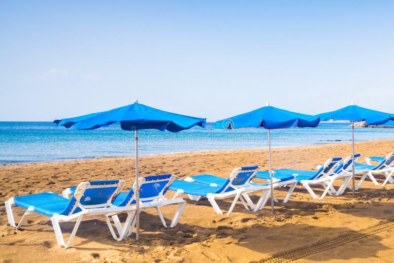 Lettini blu con gli ombrelli alla spiaggia tropicale soleggiata a Lanzarote, isole Canarie immagine stock