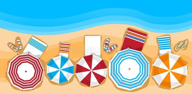 Lettino di vacanza della spiaggia di estate con la vista di angolo superiore tropicale dell'insegna della sabbia dell'ombrello illustrazione di stock