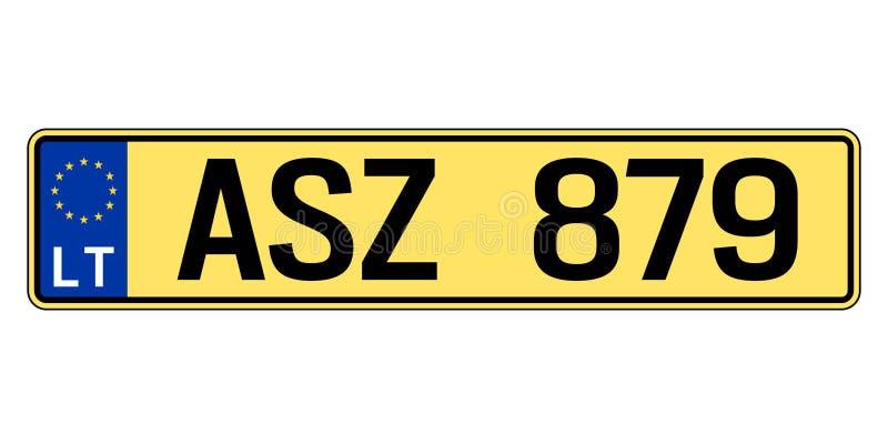 Lettland-Autoplatte Polizeiliches Kennzeichen lizenzfreie abbildung
