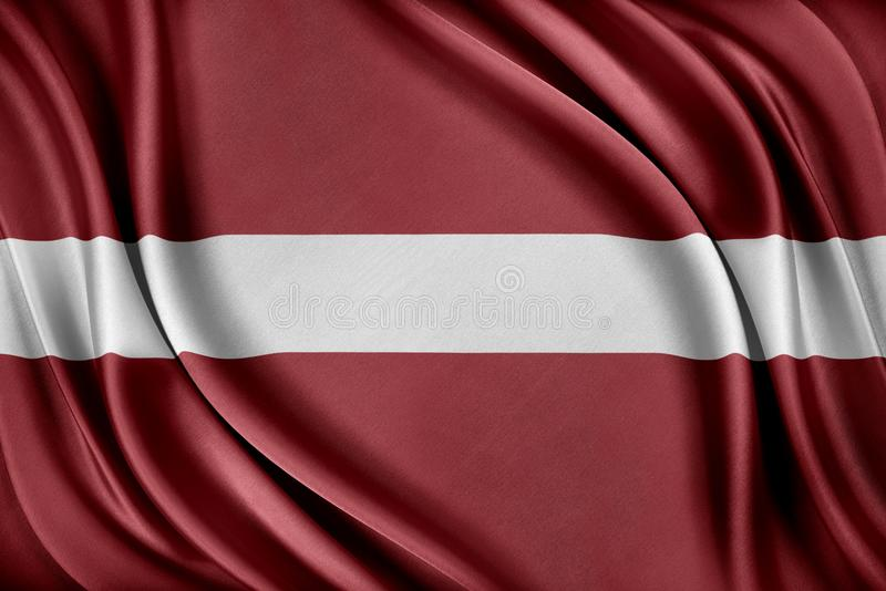 Lettland flagga Flagga med en glansig siden- textur royaltyfri illustrationer