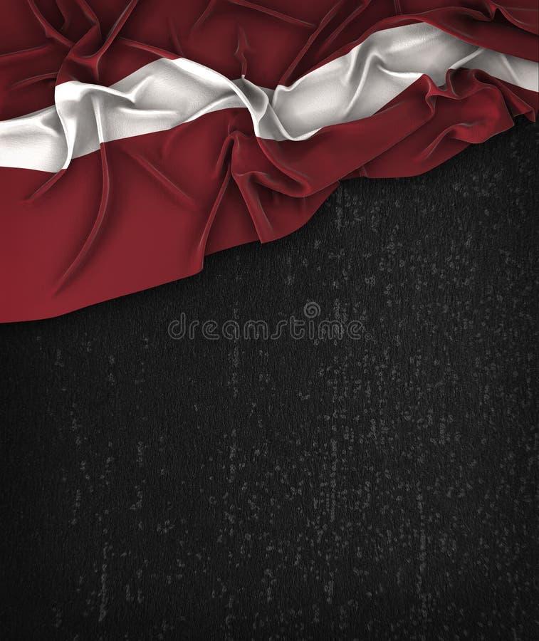 Lettland flaggatappning på en svart tavla för Grungesvart med utrymme för vektor illustrationer
