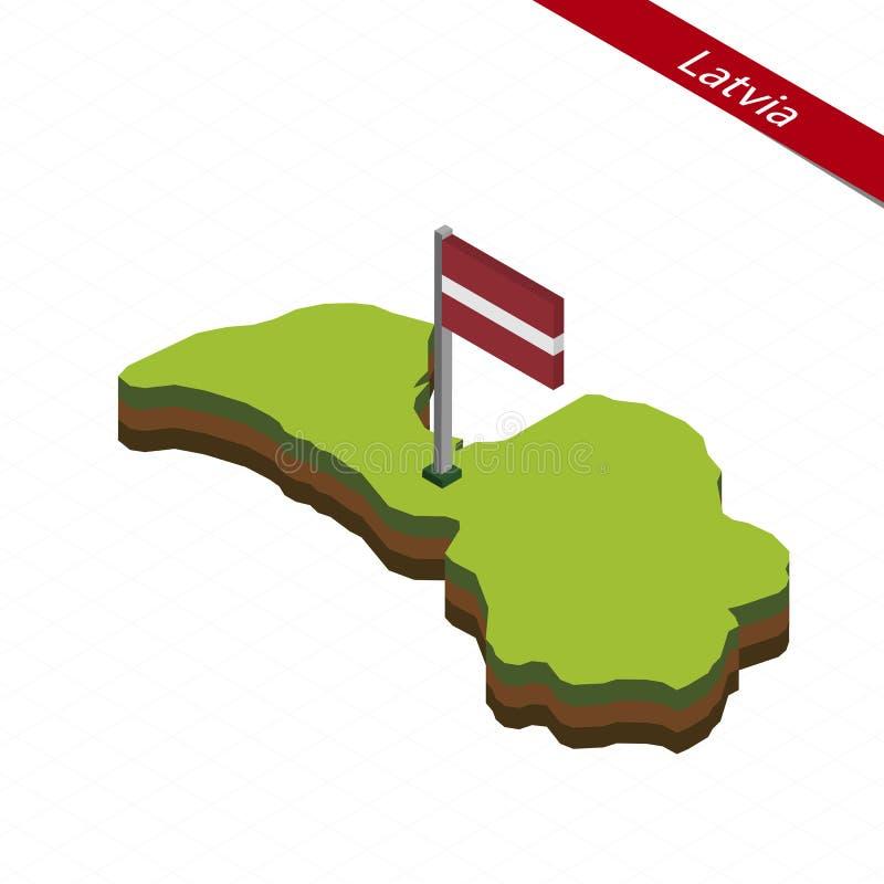 Lettland isometrisk översikt och flagga också vektor för coreldrawillustration stock illustrationer