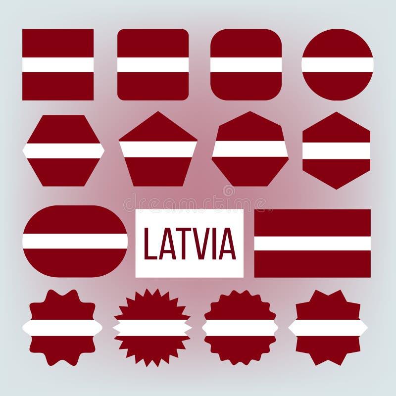 Lettland nationella färger, uppsättning för gradbeteckningvektorsymboler royaltyfri illustrationer