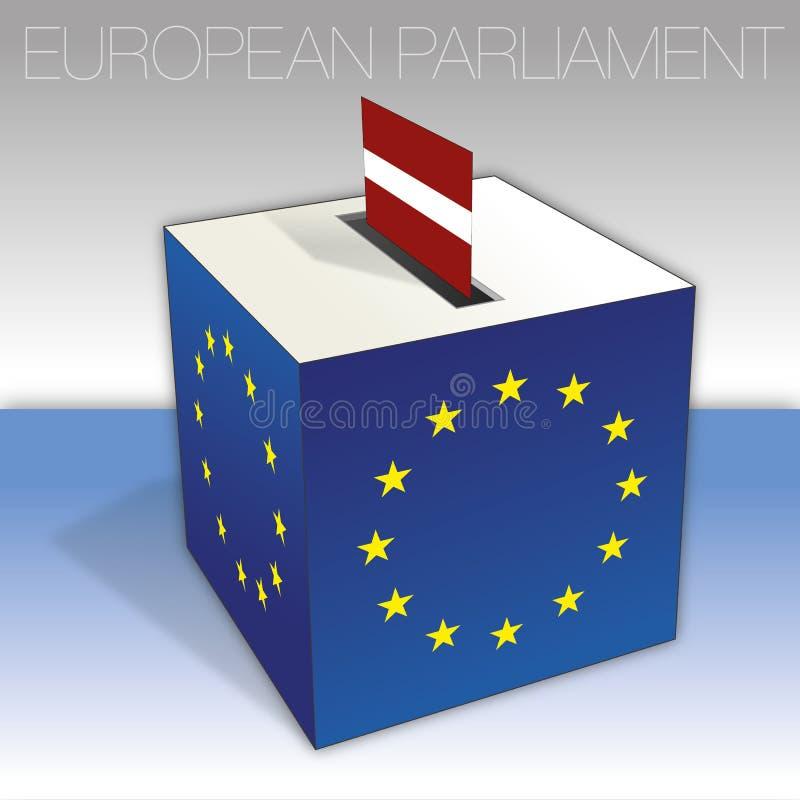 Lettland, val för europeisk parlament, valurna och flagga royaltyfri illustrationer