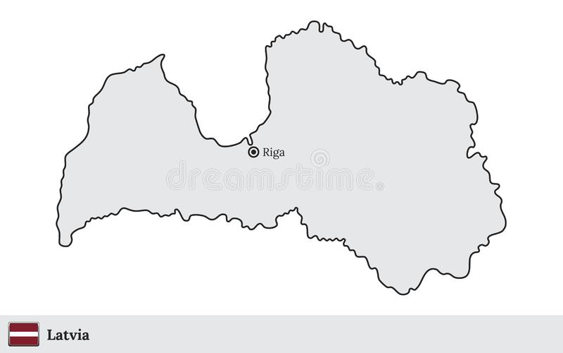 Lettland-Vektorkarte mit der Hauptstadt Riga stock abbildung