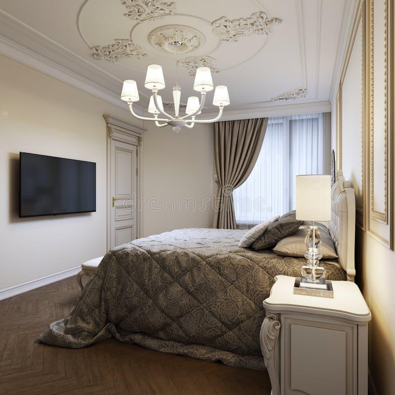 Letto classico con i comodini e le lampade di notte nello stile della camera da letto di art deco royalty illustrazione gratis