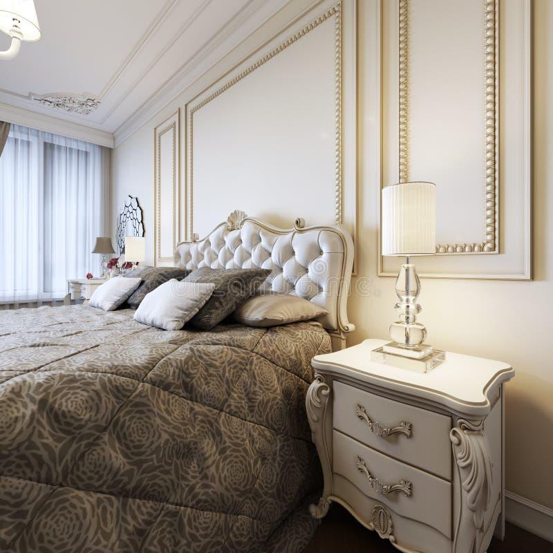 Letto classico con i comodini e le lampade di notte nello stile della camera da letto di art deco illustrazione di stock