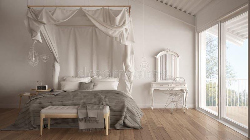 Letto del baldacchino in camera da letto bianca minimalistic con la grande finestra, scandi immagine stock libera da diritti
