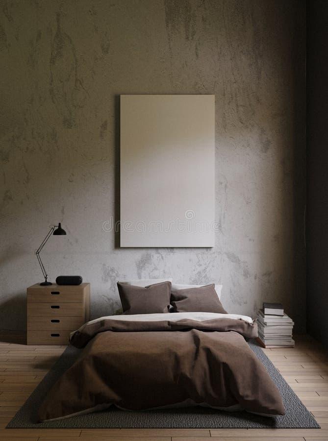 Letto di Brown in una camera da letto scura la luce intensa da luce eterna, tappeto, libri, sottotetto interno con i mura di ceme illustrazione di stock