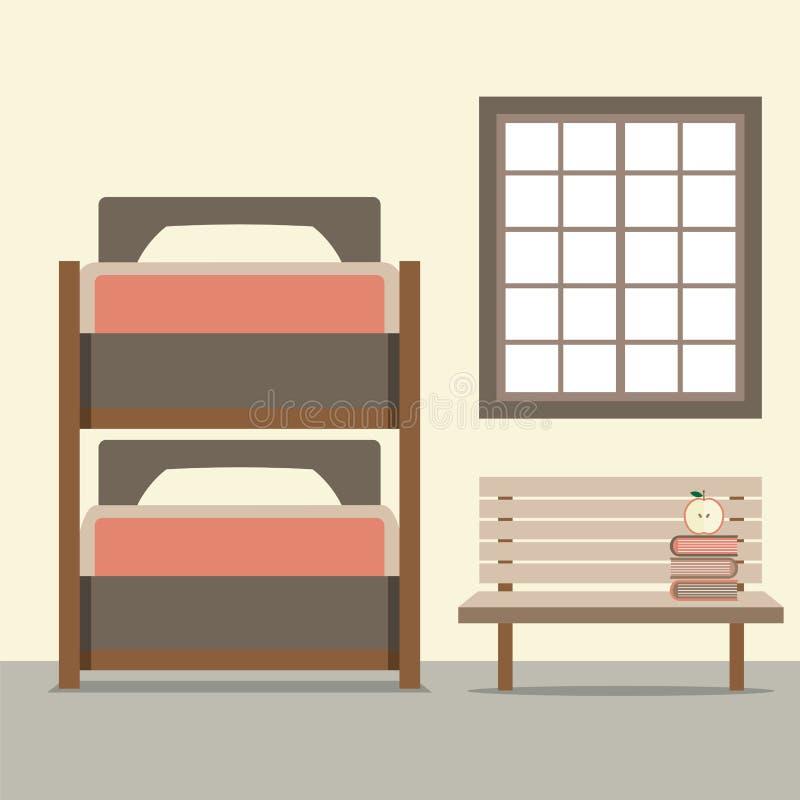 Letto di cuccetta con la sedia di legno illustrazione di stock