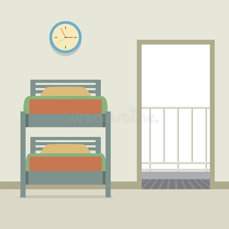 Letto di cuccetta con una porta aperta illustrazione di stock
