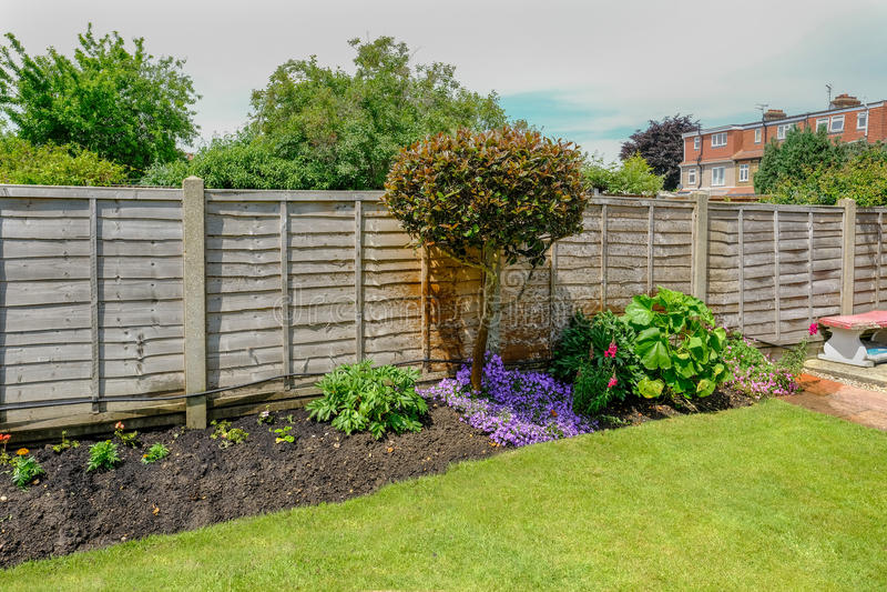 Letto di fiore nel retro-giardino con un recinto dietro le piante fotografia stock libera da diritti