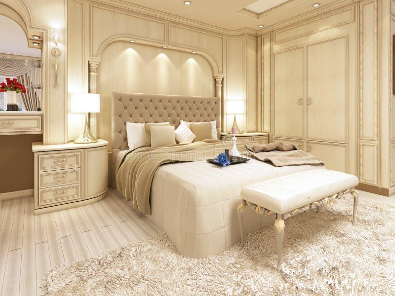 Letto di lusso in una grande camera da letto neoclassica con il posto adatto decorativo illustrazione di stock