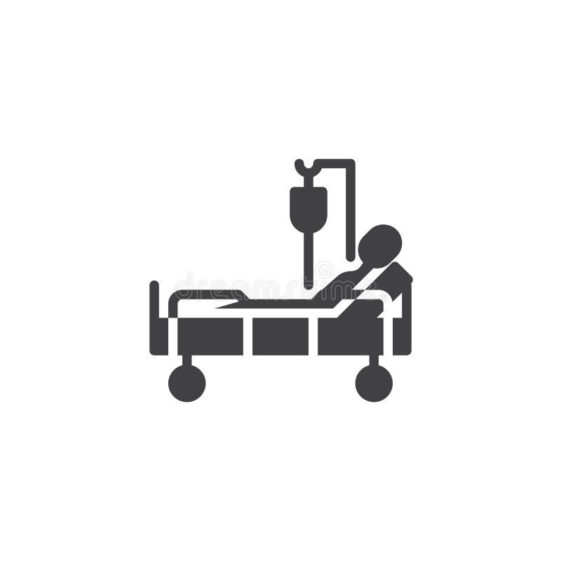 Letto di ospedale con l'icona paziente di vettore di trasfusione di sangue illustrazione di stock
