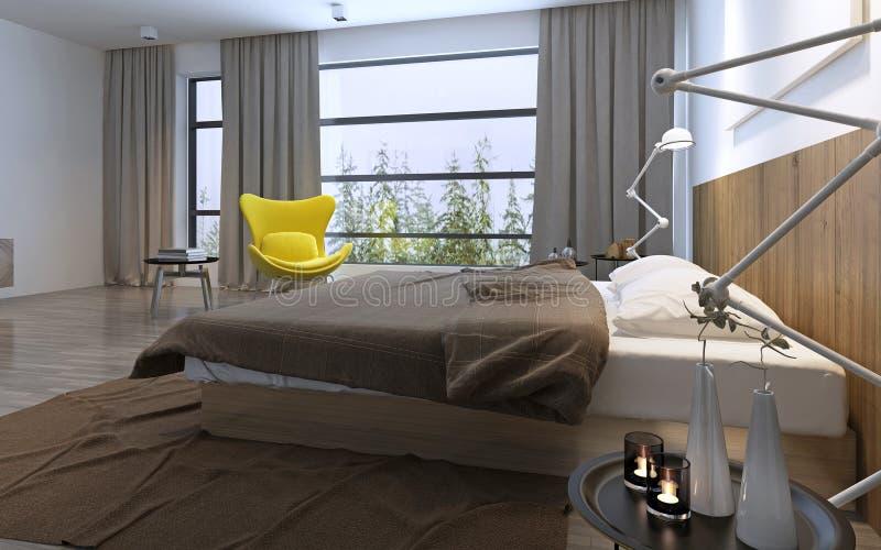 Letto e sedia gialla in camera da letto illustrazione di - Sedia camera da letto ...