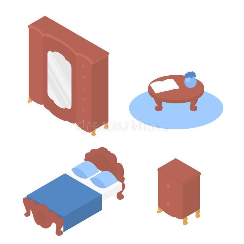 Letto isometrico della mobilia, tavola, guardaroba illustrazione vettoriale
