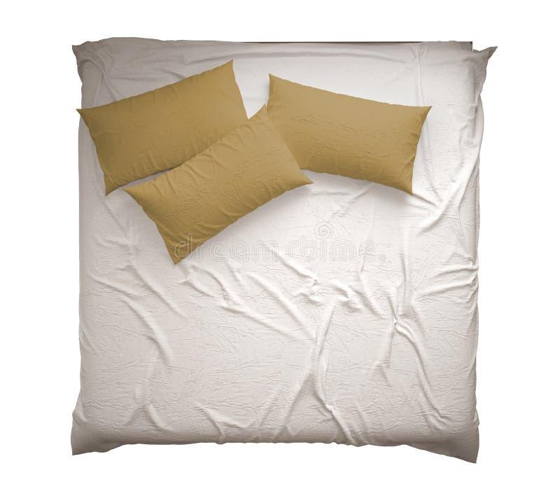 Letto matrimoniale moderno classico scandinavo con i cuscini, la vista superiore, isolati sull'interno bianco e giallo bianco del fotografie stock libere da diritti