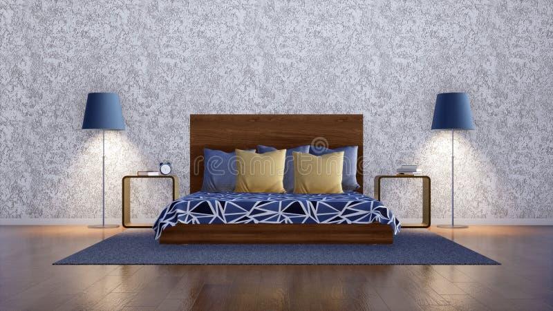 Letto matrimoniale nell'interno minimalista moderno della camera da letto illustrazione vettoriale