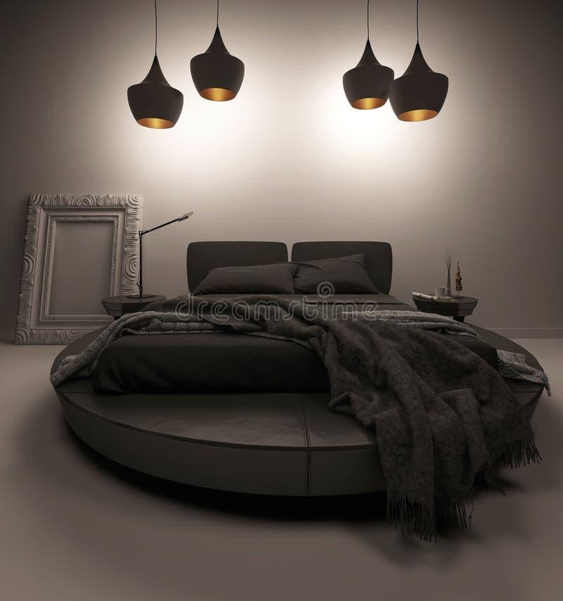 Letto nero che sta sotto quattro lampade del soffitto royalty illustrazione gratis