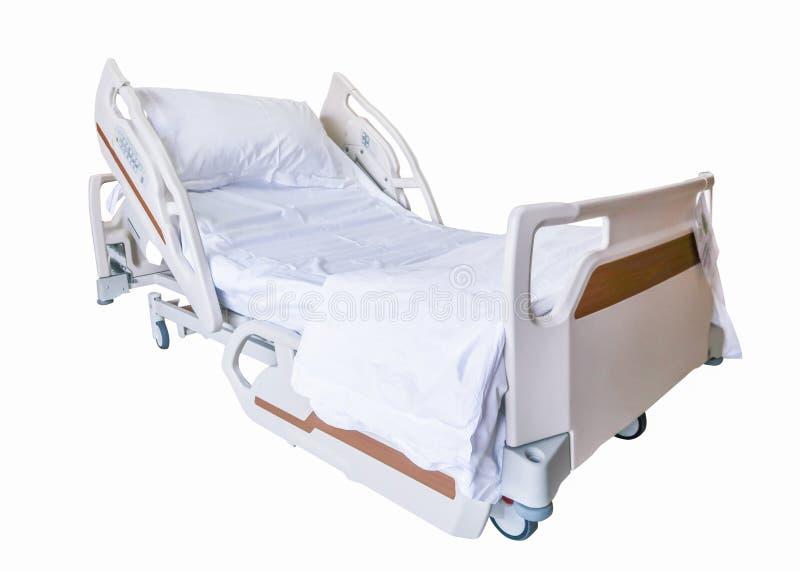 Letto paziente con il percorso di ritaglio, isolato su fondo bianco fotografia stock