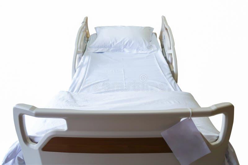 Letto paziente con il percorso di ritaglio, isolato su fondo bianco immagine stock