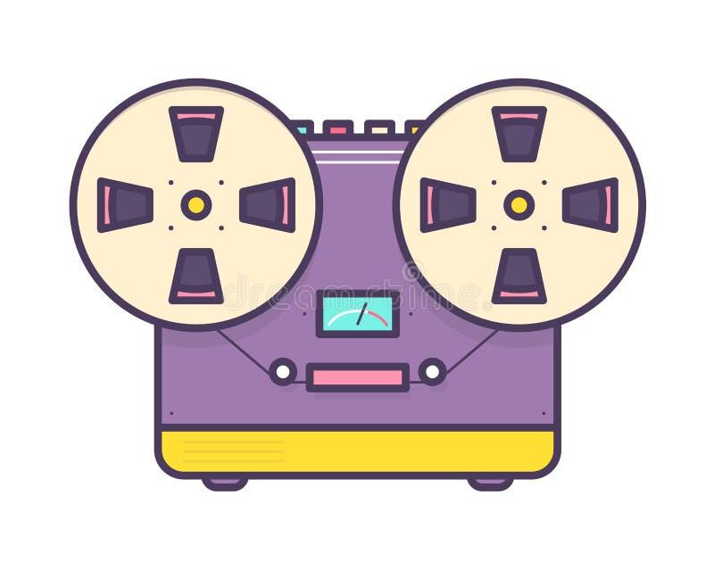 Lettore analogico, registratore di cassetta audio bobina a bobina con i bottoni isolati su fondo bianco Retro o vecchia scuola illustrazione di stock