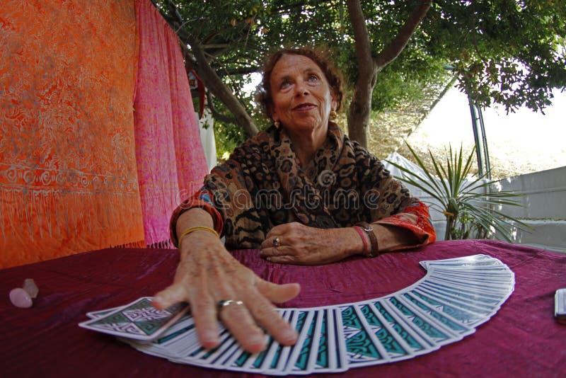 Lettore dei tarocchi di Ibiza fotografie stock libere da diritti