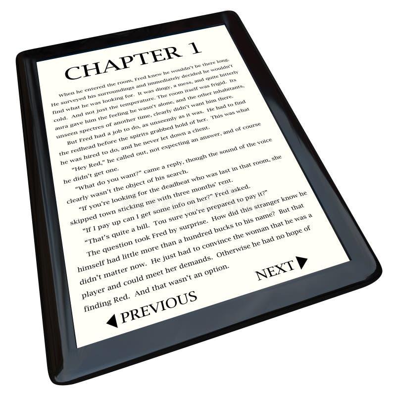 Lettore del E-Libro con il romanzo sullo schermo royalty illustrazione gratis